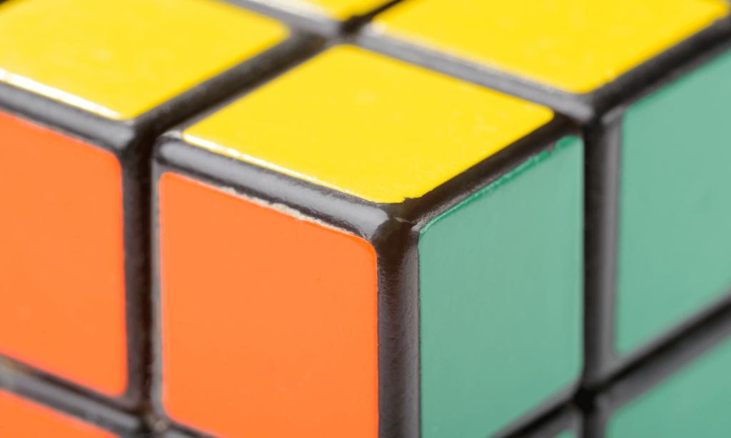 Zoomet billede af en Rubiks Cube